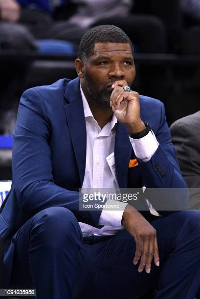 Evansville Purple Aces head coach Walter McCarty looks on during the Missouri Valley Conference college basketball game between the Evansville Purple...