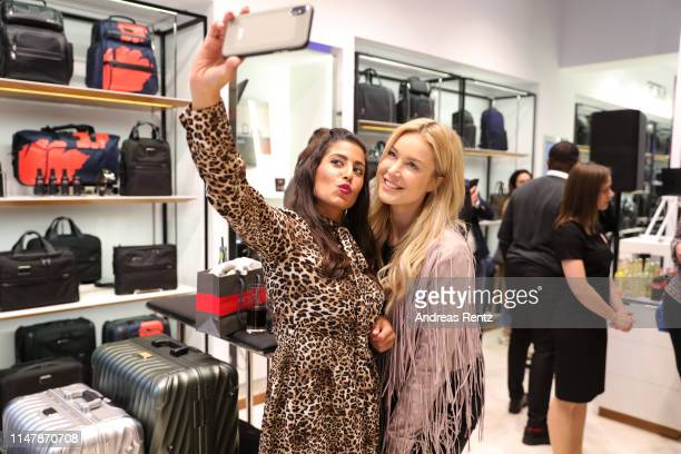 Evanthia Benetatou and Nina Ensmann attend the Tumi Flagship Store launch on May 08, 2019 in Duesseldorf, Germany.