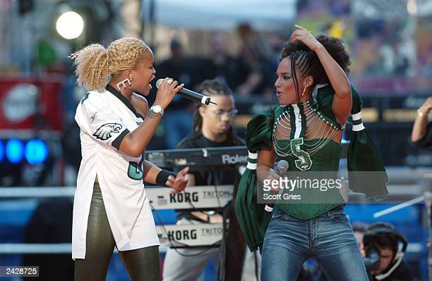 Eve and Alicia Keys onstage performing during the Countdown to Kickoff The NFL Times Square Concert to celebrate the opening of the 2002 NFL season...