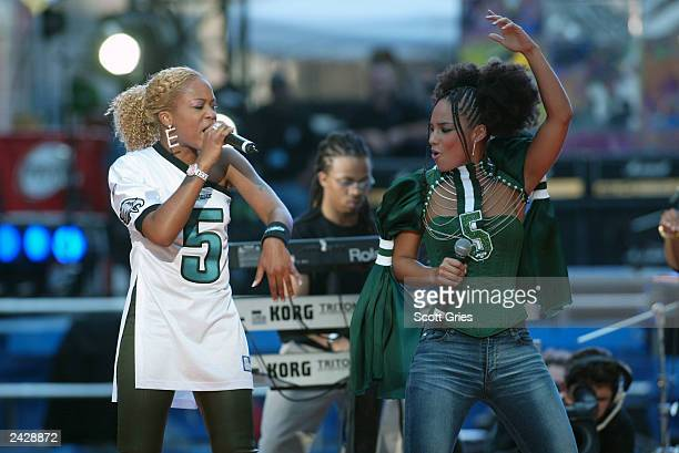 Eve and Alicia Keys perform atCoutdown to Kickoff The NFL Times Square Concert to celebrate the opening of the 2002 NFL season in Times Square New...