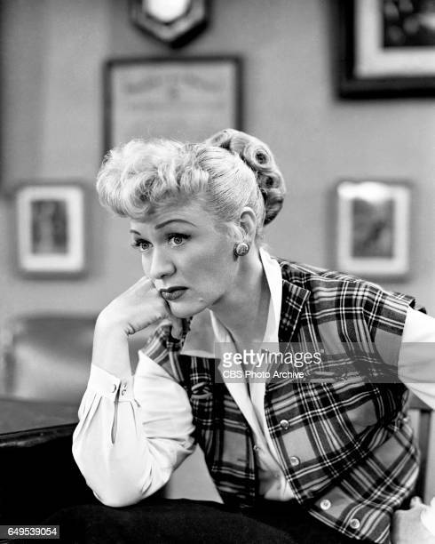 Eve Arden strikes a thoughtful pose in the CBS television program Our Miss Brooks episode titled Living Statues originally broadcast November 7 1952...