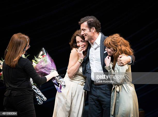 Eve Best Clive Owen and Kelly Reilly during curtain call at the Old Times Broadway Opening Night at American Airlines Theatre on October 6 2015 in...