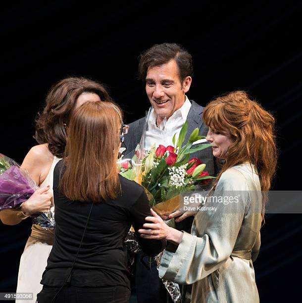 Eve Best Clive Owen and Kelly Reilly during curtain call at the 'Old Times' Broadway Opening Night at American Airlines Theatre on October 6 2015 in...