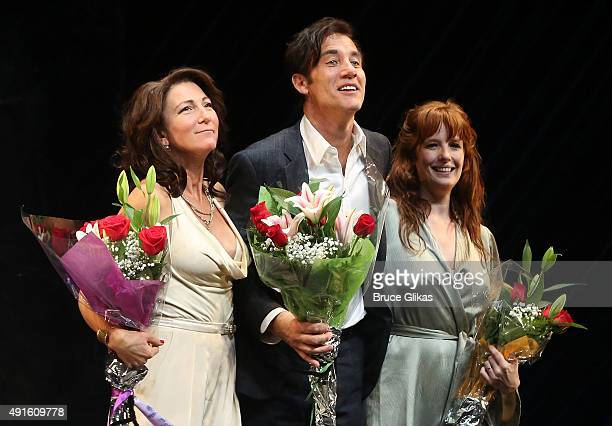 "Eve Best, Clive Owen and Kelly Reilly take the curtain call on Opening Night of ""Old Times"" on Broadway at The American Airlines Theater on October..."