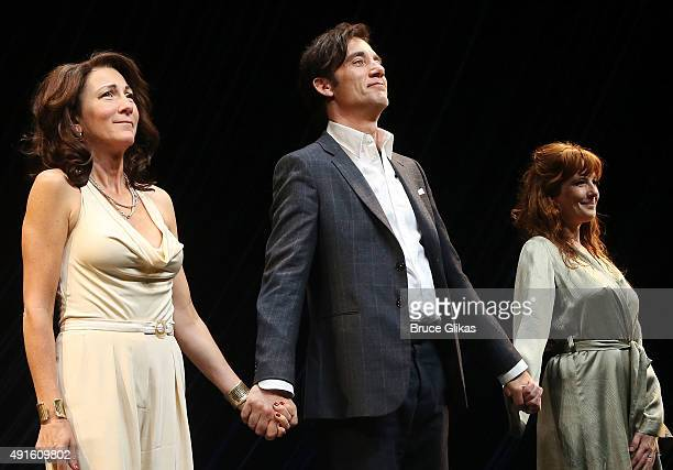 Eve Best Clive Owen and Kelly Reilly take the curtain call on Opening Night of 'Old Times' on Broadway at The American Airlines Theater on October 6...