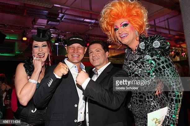Eve Champaign Axel Schulz and Francis FultonSmith Franci Fulton Smith pose ahead of the Tribute To Bambi 2014 at Station on September 25 2014 in...
