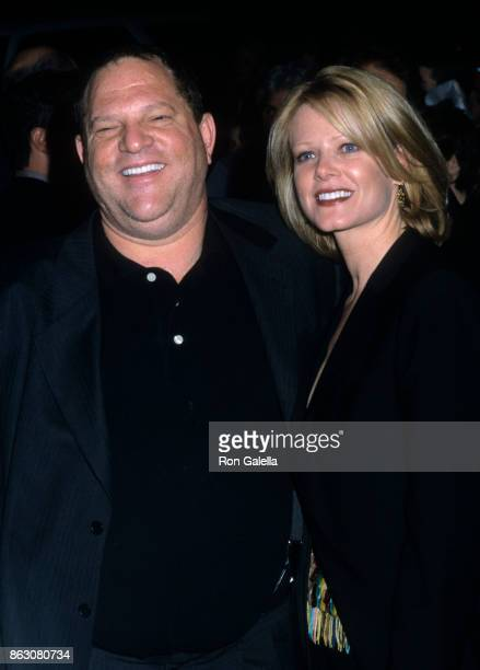 Eve Chilton Weinstein and Harvey Weinstein attend The Elephant Man Opening Night on April 14 2002 at the Royale Theater in New York City
