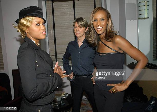 Eve David Bowie and Iman during 2002 VH1 Vogue Fashion Awards Backstage and Audience at Radio City Music Hall in New York City New York United States