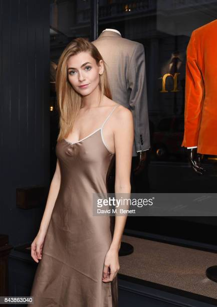 Eve Delf attends the launch of the 'Kingsman' shop on St James's Street in partnership with MR PORTER MARV Twentieth Century Fox in celebration of...