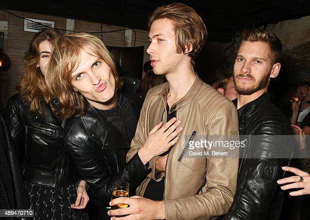 Eve Delf Max Davenport Charlie Simpson and Jimmy Goodwin attend an after party celebrating the premiere of Belstaff Films' 'Outlaws' during London...