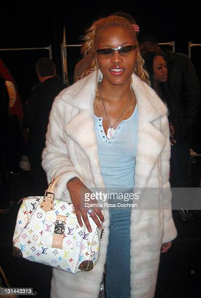 Eve during MercedesBenz Fashion Week Fall 2003 Collections Baby Phat Front Row and Backstage at Bryant Park in New York City New York United States
