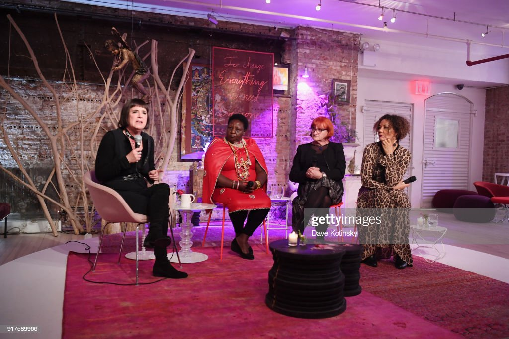 Eve Ensler, Agnes Pareyio, Rada Boric and Christine Deschryver Schuler appear onstage during V20: My Revolution Lives In This Body activist evening, a V-Day 20th anniversary event on February 12, 2018 in New York City.
