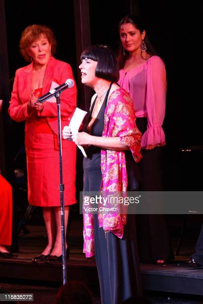 Eve Ensler and Salma Hajek during Vagina Monologues VDay Benefit Production Mexico City May 9 2006 at Teatro Telmex in Mexico Mexico