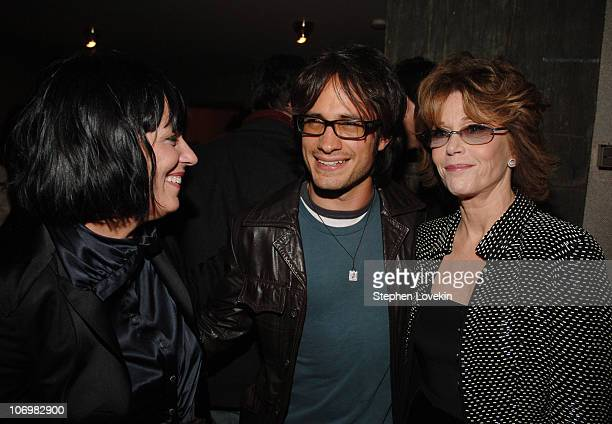 Eve Ensler Gabriel Garcia Bernal and Jane Fonda during The Cinema Society and The Wall Street Journal Weekend Edition Host the After Party for Babel...