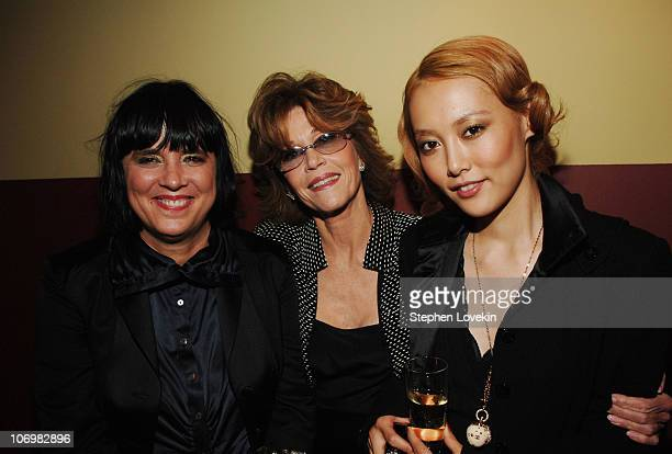 Eve Ensler Jane Fonda and Rinko Kikuchi during The Cinema Society and The Wall Street Journal Weekend Edition Host the After Party for Babel at SoHo...