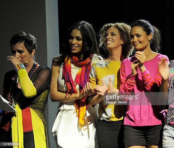 Eve Ensler, Rosario Dawson, Stephanie Siadatan and Thandie Newton bow at the curtain call during a performance of 'A Memory, A Monologue, A Rant And...