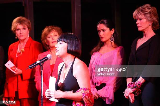 Eve Ensler Salma Hajek and Jane Fonda