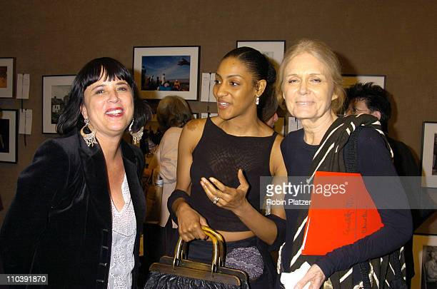 Eve Ensler Sarah Jones and Gloria Steinem during The Photography Auction to Benefit Equality 20 June 2005 at Christies in New York New York United...