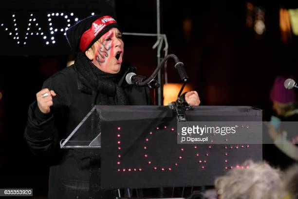 Eve Ensler speaks onstage during Artistic Uprising A Call For #RevolutionaryLove at Washington Square Park on February 14 2017 in New York City