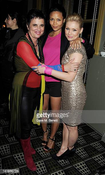 Eve Ensler Thandie Newton and MyAnna Buring attend an after party for 'A Memory A Monologue A Rant And A Prayer' a onenight only performance produced...