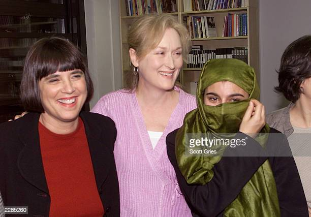 Eve Ensler VDay founder Meryl Streep and Sahar Saba member of Revolutionary Assoc of the Women of Afghanistan during a press conference sponsored by...