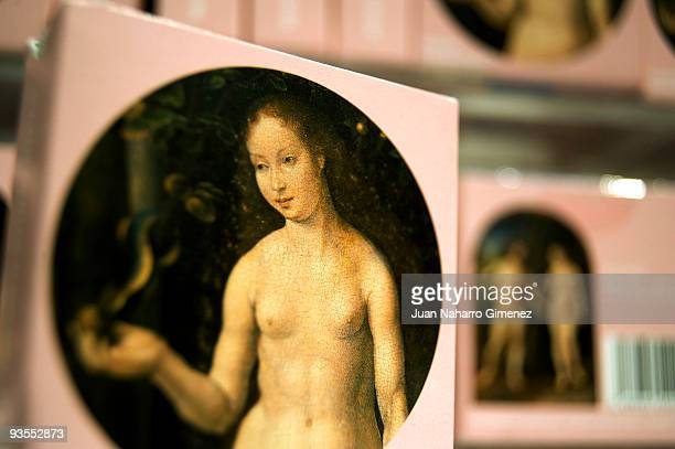 Eve from a replica of the painting by Jan Gossaert entitled 'Adam and Eve' is printed on condom packaging at the Thyssen Museum on December 2 2009 in...