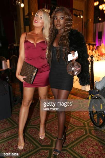 Eve Gale and Leanne Amaning attend the Oh Polly Fashion Show By Planet Fashion at London Fashion Week at The Royal Horseguards on February 16 2020 in...