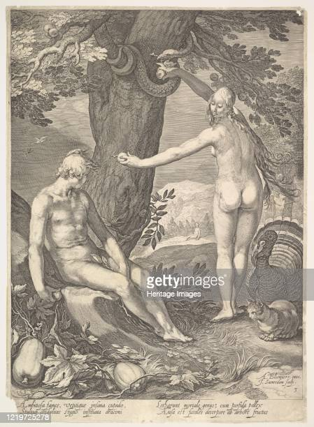 "Eve Giving Adam the Forbidden Fruit; from ""The Story of Adam and Eve"". After Abraham Bloemaert. Artist Jan Saenredam."