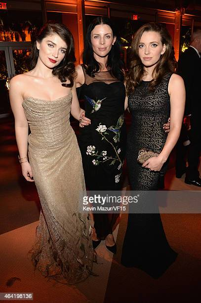Eve Hewson Liberty Ross and Jordan Hewson attend the 2015 Vanity Fair Oscar Party hosted by Graydon Carter at the Wallis Annenberg Center for the...