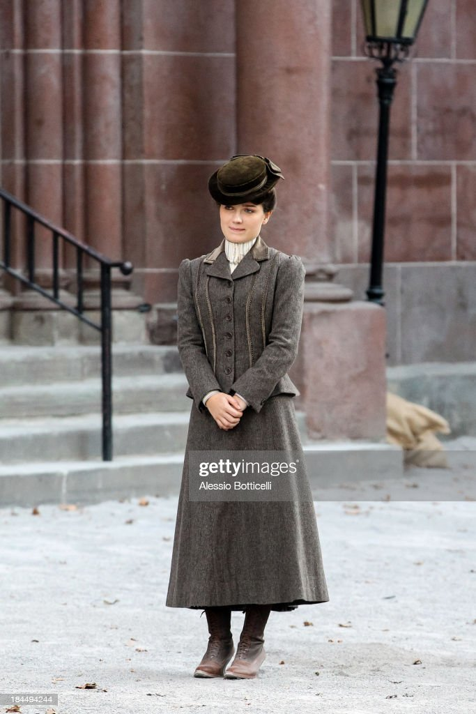 Eve Hewson seen on location in Brooklyn for 'The Knick' on October 14, 2013 in New York City.