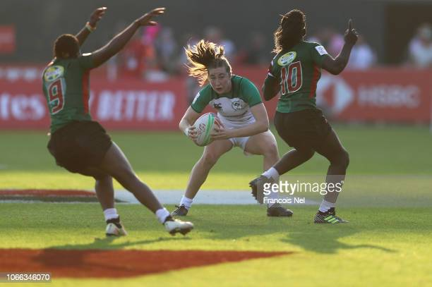 Eve Higgins of Ireland runs with the ball on day one of the Emirates Dubai Rugby Sevens HSBC World Rugby Sevens Series at The Sevens Stadium on...