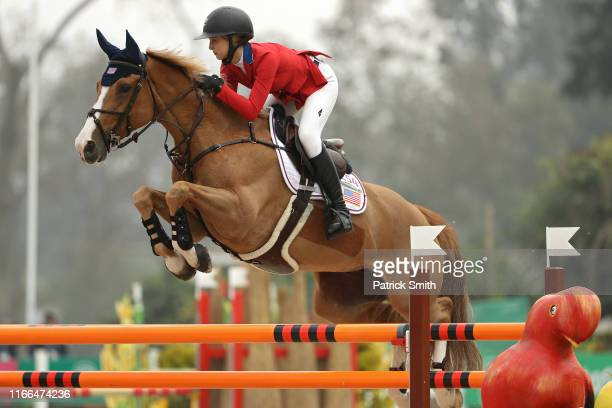 Eve Jobs of the United States on Venue D'Fees Des Hazalles competes in the equestrian horse jumping Individual 1st Qualifier on Day 11 of the Lima...