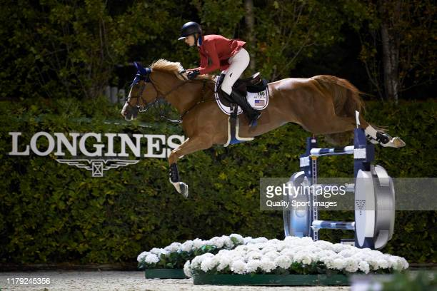 Eve Jobs of the USA in action during Day 3 of Longines FEI Jumping Nations Cup Final at Reial Club de Polo de Barcelona on October 05 in Barcelona,...