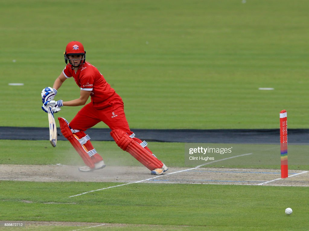 Eve Jones of Lancashire Thunder bats during the Kia Super League match between Lancashire Thunder and Loughborough Lightning at Blackpool Cricket Club on August 20, 2017 in Blackpool, England.