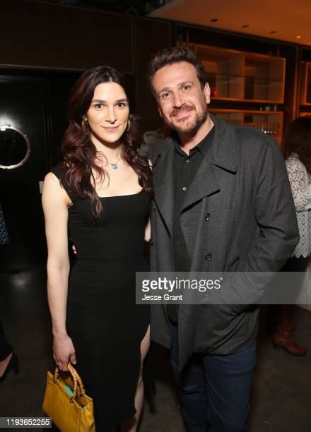 Eve Lindley and Jason Segel attend the Dispatches from Elsewhere Tastemaker event on December 12 2019 in Los Angeles California