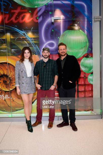 Eve Lindley Glossblack and Jason Segel attend the Dispatches From Elsewhere mural unveiling at the Comcast Technology Center on February 28 2020 in...