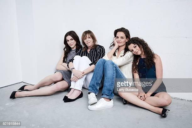 Eve Lindley Jane Rosenthal Katie Holmes and Stefania LaVie Owen from All We Had pose at the Tribeca Film Festival Getty Images Studio on April 16...