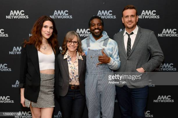Eve Lindley Sally Field André Benjamin and Jason Segel of 'Dispatches from Elsewhere' attend the AMC Networks portion of the Winter 2020 TCA Press...
