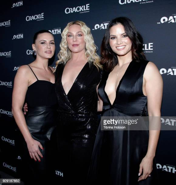 Eve Mauro Elisabeth Rohm and Katrina Law attends the premiere of Crackle's 'The Oath' at Sony Pictures Studios on March 7 2018 in Culver City...