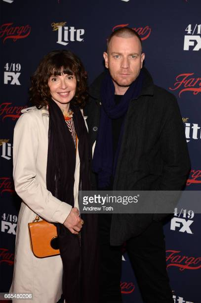 Eve Mavrakis and Ewan McGregor attend the FX Network 2017 AllStar Upfront at SVA Theater on April 6 2017 in New York City