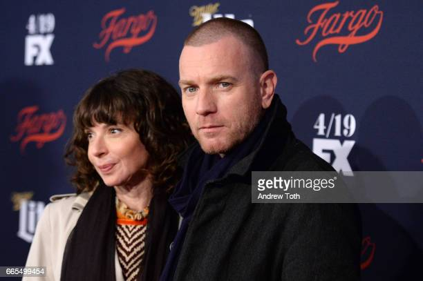 Eve Mavrakis and Ewan McGregor attend the FX Network 2017 AllStar Upfront at SVA Theater on April 6 2017 in New York City