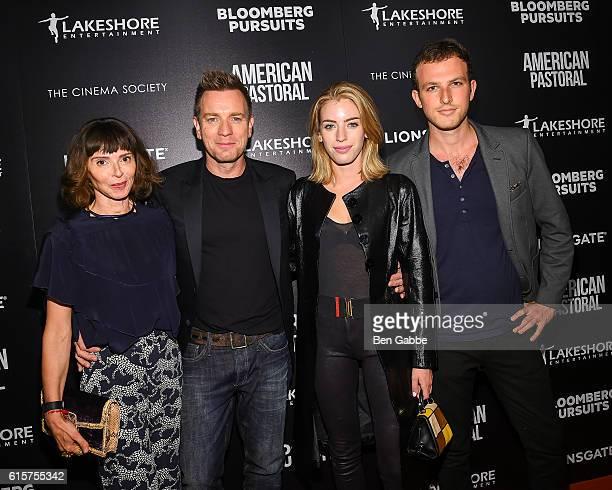 Eve Mavrakis Ewan McGregor Clara Mathilde McGregor and guest attend a screening of American Pastoral at the Museum of Modern Art on October 19 2016...