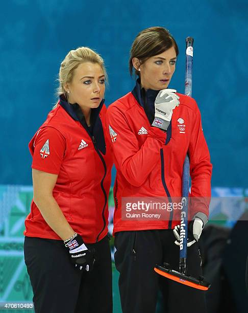 Eve Muirhead and Anna Sloan of Great Britain look on during the Bronze medal match between Switzerland and Great Britain on day 13 of the Sochi 2014...