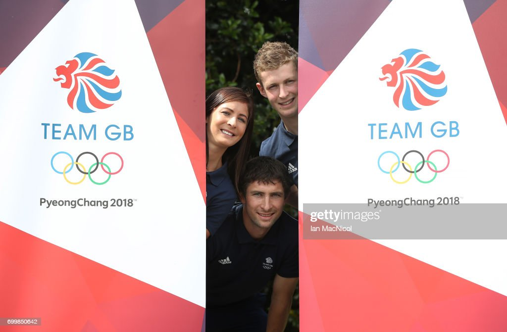 Eve Muirhead and brothers Glen and Thomas Muirhead pose for photographs after being amongst the first athletes selected to represent Great Britain at PyeongChang 2018, on June 22, 2017 in Edinburgh, Scotland.
