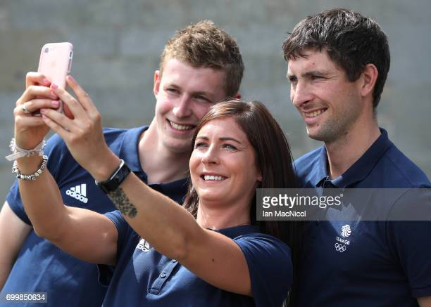 Eve Muirhead and brothers Glen and Thomas Muirhead take a selfie after being amongst the first athletes selected to represent Great Britain at...