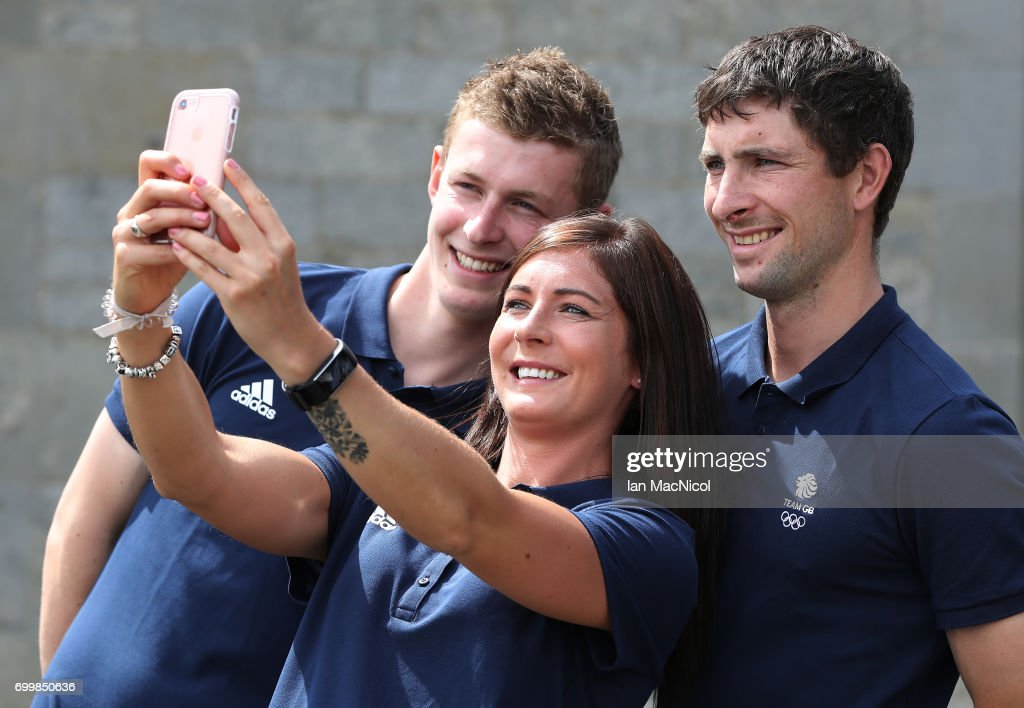 Eve Muirhead and brothers Glen and Thomas Muirhead take a selfie after being amongst the first athletes selected to represent Great Britain at PyeongChang 2018, on June 22, 2017 in Edinburgh, Scotland.