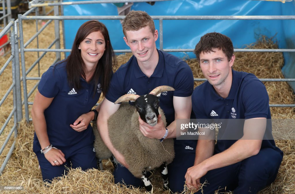 Eve Muirhead and brothers Thomas Muirhead and Glen Muirhead pose for photographs at The Royal Highland show after being amongst the first athletes selected to represent Great Britain at PyeongChang 2018, on June 22, 2017 in Edinburgh, Scotland.
