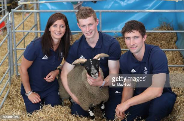 Eve Muirhead and brothers Thomas Muirhead and Glen Muirhead pose for photographs at The Royal Highland show after being amongst the first athletes...