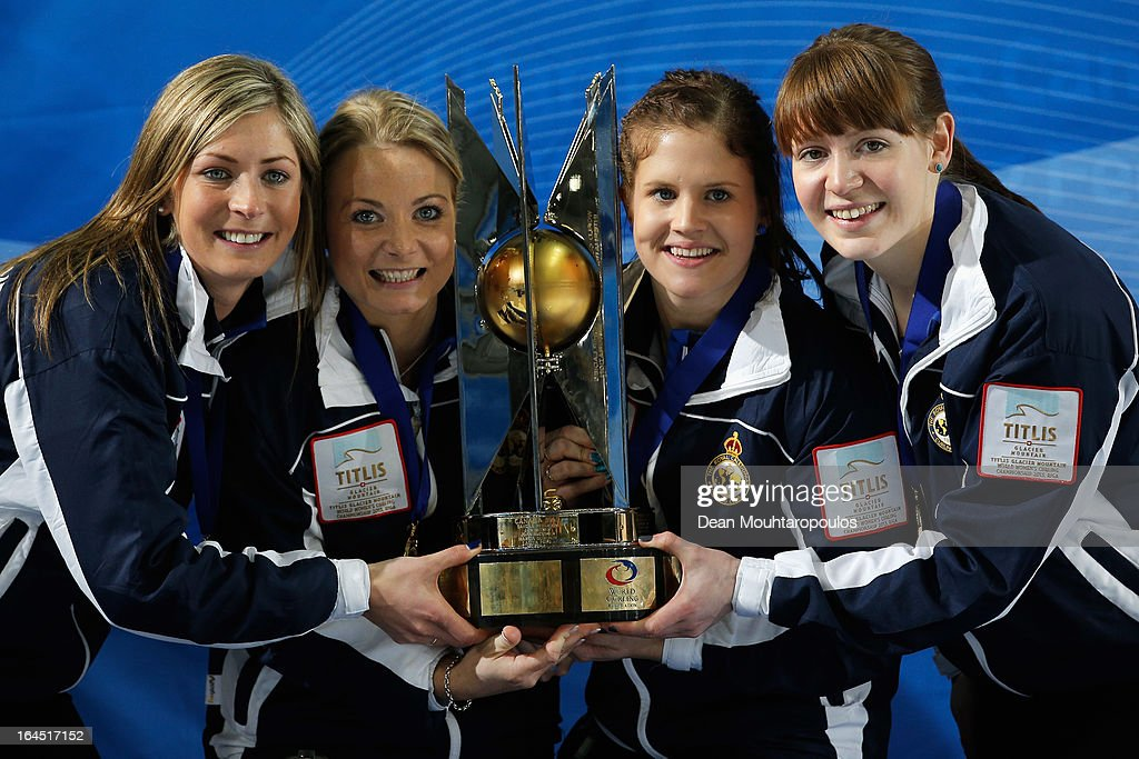 Eve Muirhead, Anna Sloan, Vicki Adams and Claire Hamilton pose with the trophy after winning the Gold medal match between Sweden and Scotland on Day 9 of the Titlis Glacier Mountain World Women's Curling Championship at the Volvo Sports Centre on March 24, 2013 in Riga, Latvia.