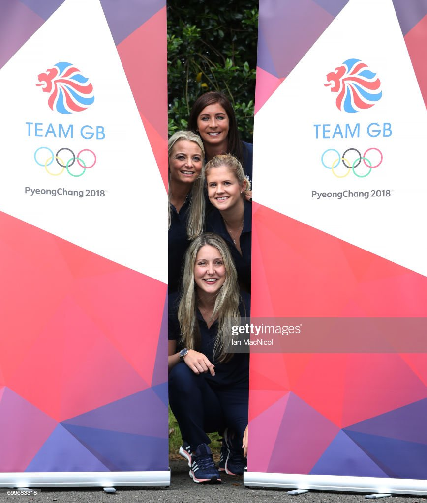 Eve Muirhead, Anna Sloan, Vicki Adams and Laura Gray pose for photographs after being amongst the first athletes selected to represent Great Britain at PyeongChang 2018, on June 22, 2017 in Edinburgh, Scotland.